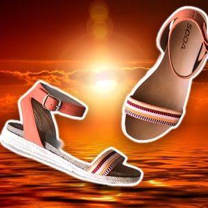 NEW Soda Tacoma Orange Espadrille Flatform Sandal